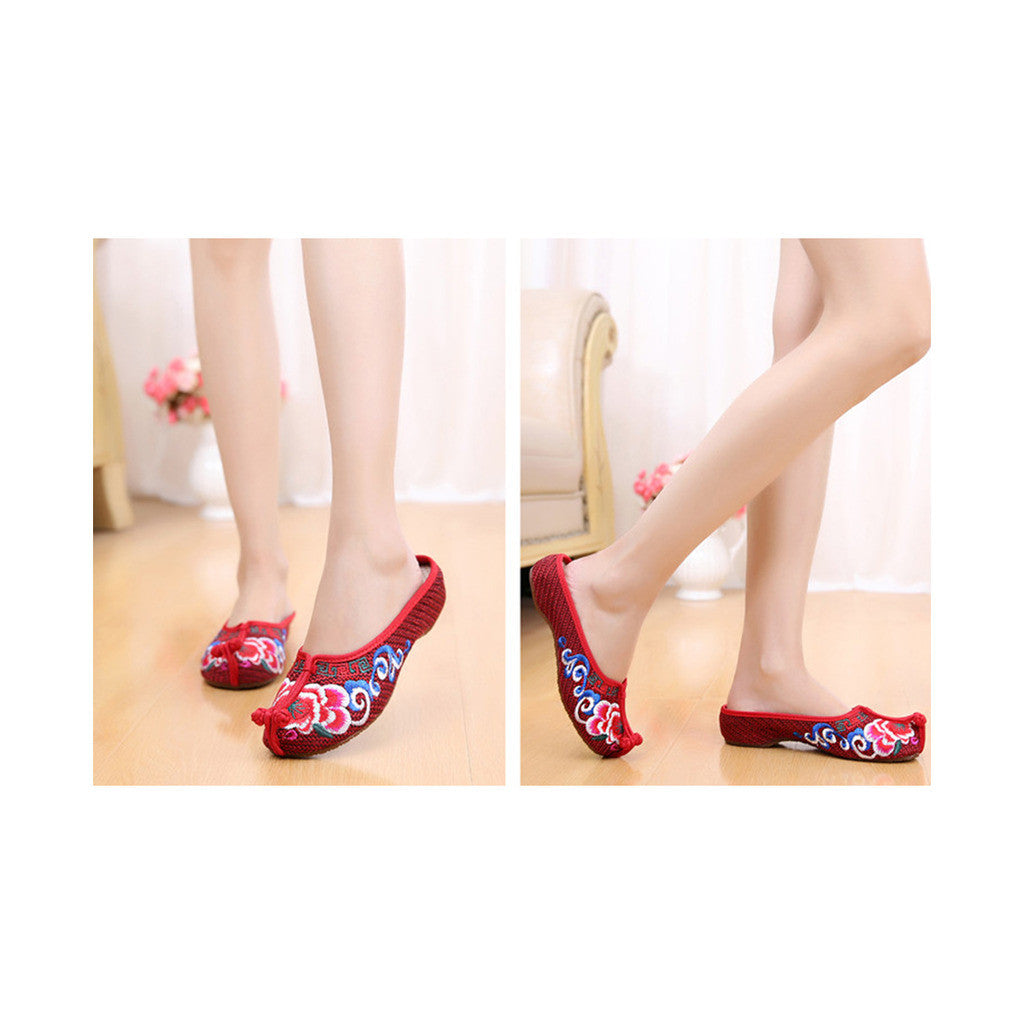 Beijing Cloth Vintage Embroidered Wine Red Home Slippers for Woman Online in National Style with Colorful Patterns - Mega Save Wholesale & Retail - 4