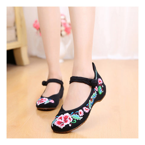 Old Beijing Black Embroidered Cowhell Woman Shoes in National Style with Beautiful Floral Designs with Ankle Straps - Mega Save Wholesale & Retail - 1