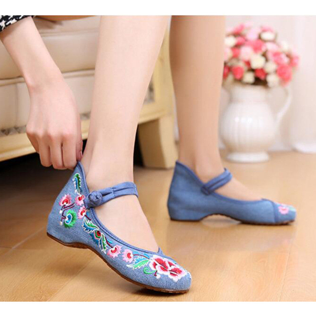 Old Beijing Cloth Shoes National Style Embroidered Shoes Square Dance Shoes Slipsole Increased within Woman Shoes Cowhell Sole Shoes blue - Mega Save Wholesale & Retail - 2
