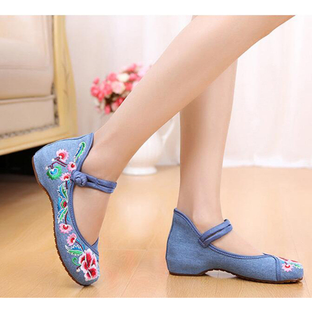 Old Beijing Cloth Shoes National Style Embroidered Shoes Square Dance Shoes Slipsole Increased within Woman Shoes Cowhell Sole Shoes blue - Mega Save Wholesale & Retail - 3