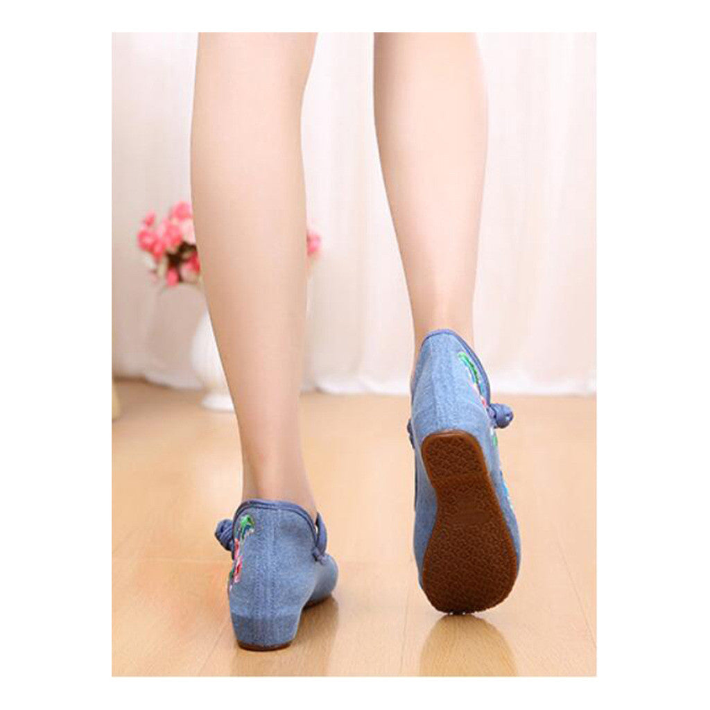 Old Beijing Cloth Shoes National Style Embroidered Shoes Square Dance Shoes Slipsole Increased within Woman Shoes Cowhell Sole Shoes blue - Mega Save Wholesale & Retail - 4