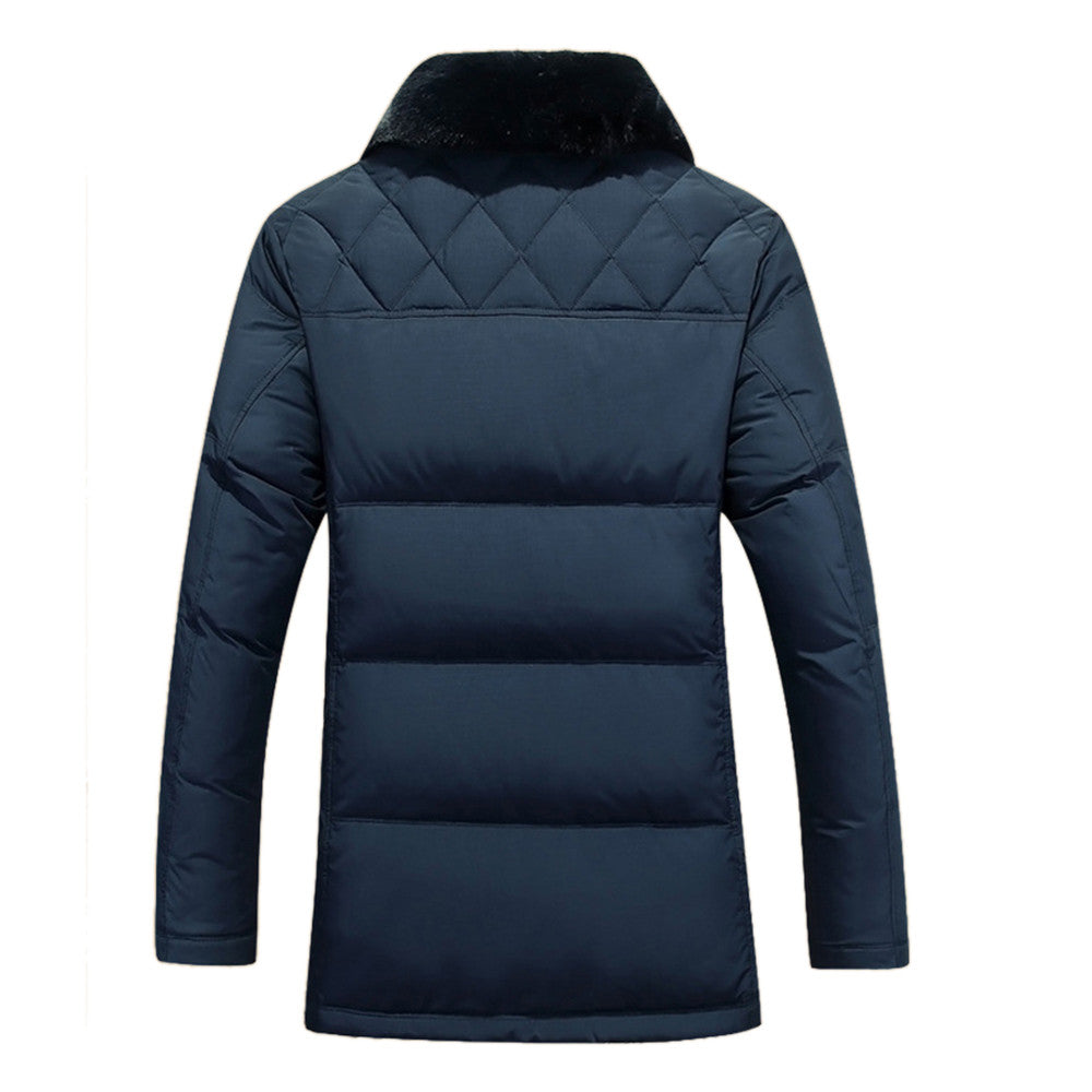 Middle Long Middle Old Age Fur Collar Down Coat   dark blue   M - Mega Save Wholesale & Retail - 3