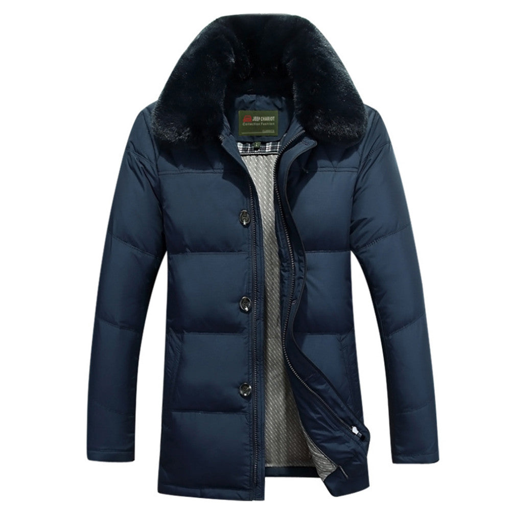 Middle Long Middle Old Age Fur Collar Down Coat   dark blue   M - Mega Save Wholesale & Retail - 1