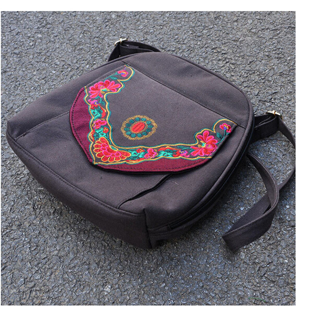 New Yunnan Fashionable National Style Embroidery Bag Stylish Featured Shoulders Bag Fashionable Bag Woman's Bag    coffee - Mega Save Wholesale & Retail - 1