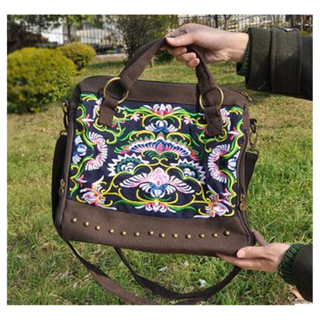 New National Style Embroidery Woman's Single-shoulder Bag Handbag Chinese Style Messenger Bag   coffee - Mega Save Wholesale & Retail - 1