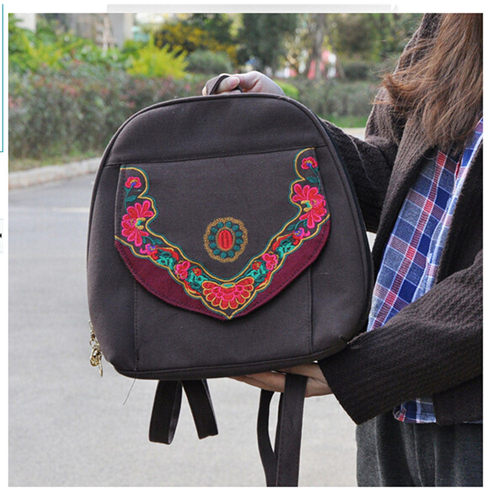 New Yunnan Fashionable National Style Embroidery Bag Stylish Featured Shoulders Bag Fashionable Bag Woman's Bag    coffee - Mega Save Wholesale & Retail - 2