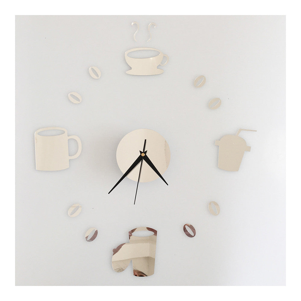 Coffee Cup Silent Casual Wall Clock Decoration Sticking   silver - Mega Save Wholesale & Retail