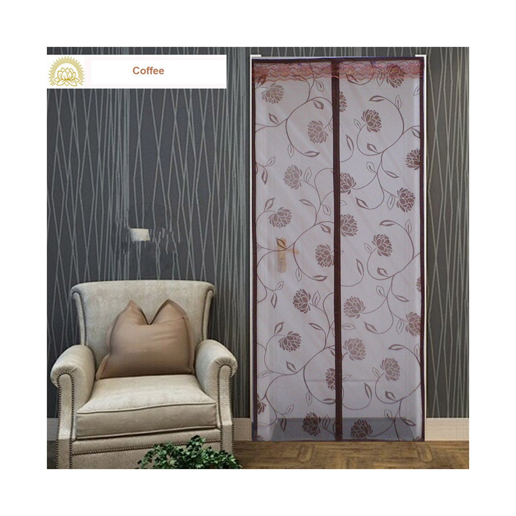 Factory direct mosquito yarn curtain magnetic soft screen door mosquito-free summer wear grade flocking Shamen   Coffee - Mega Save Wholesale & Retail - 1