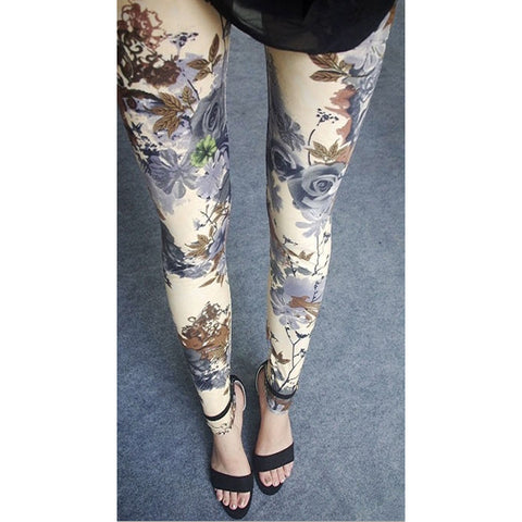 Womens sexy leggings Stretchy fit skin pants trousers Chinese traditional ink Pattern Khaki bottom flowers - Mega Save Wholesale & Retail