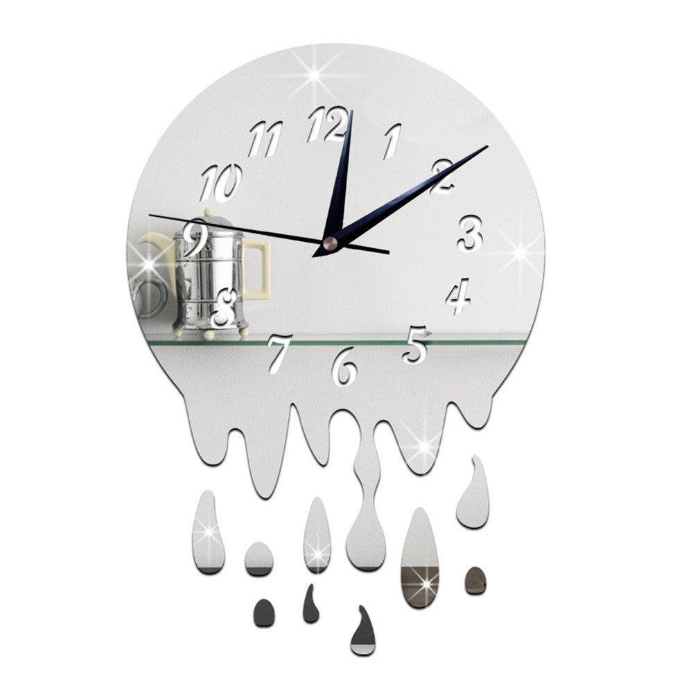 Acrylic Wall Clock Mirror Decoration   silver with scale - Mega Save Wholesale & Retail