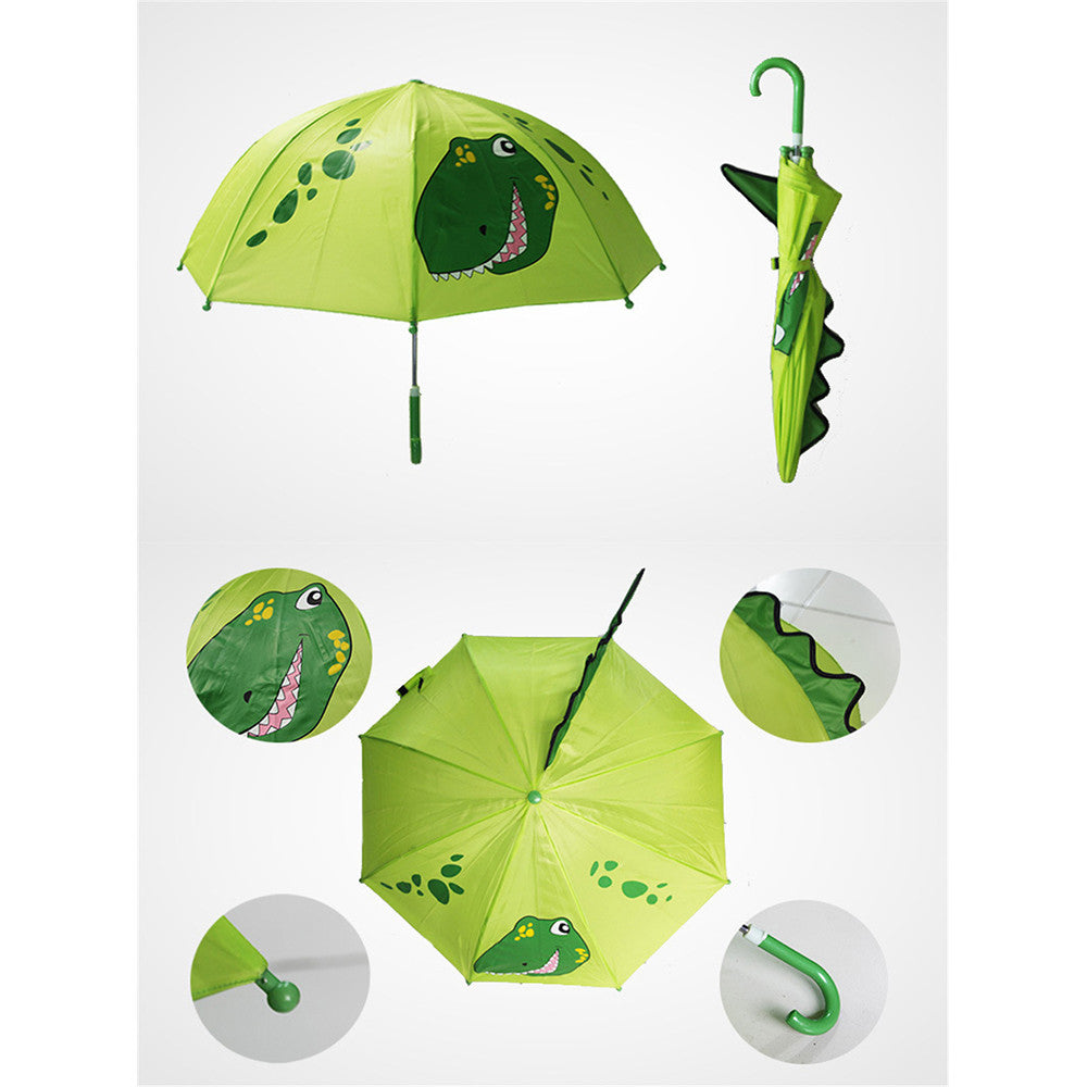 Cute Cartoon Animal Umbrella for Kids Animal Ears Bend Handle    Little Dinosaur - Mega Save Wholesale & Retail