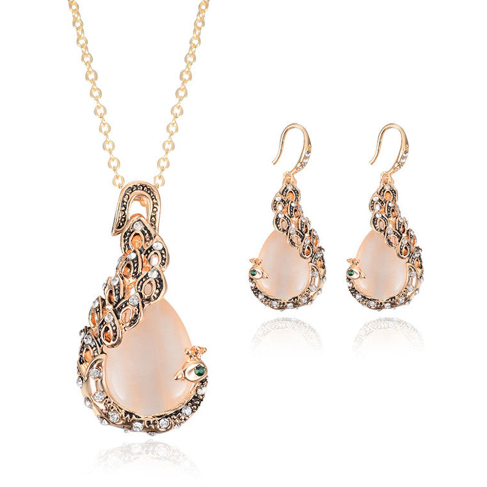 Peacock Gemstone Necklace Earrings Suit - Mega Save Wholesale & Retail