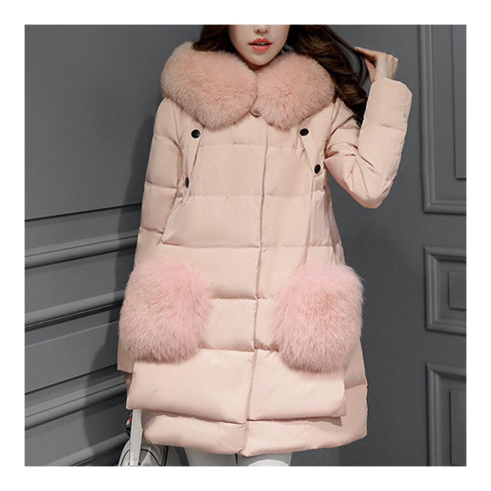 Winter Woman Middle Long Fake Fox Fur A Shape Down Coat    pink   S - Mega Save Wholesale & Retail - 1