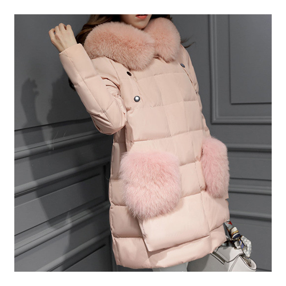 Winter Woman Middle Long Fake Fox Fur A Shape Down Coat    pink   S - Mega Save Wholesale & Retail - 2