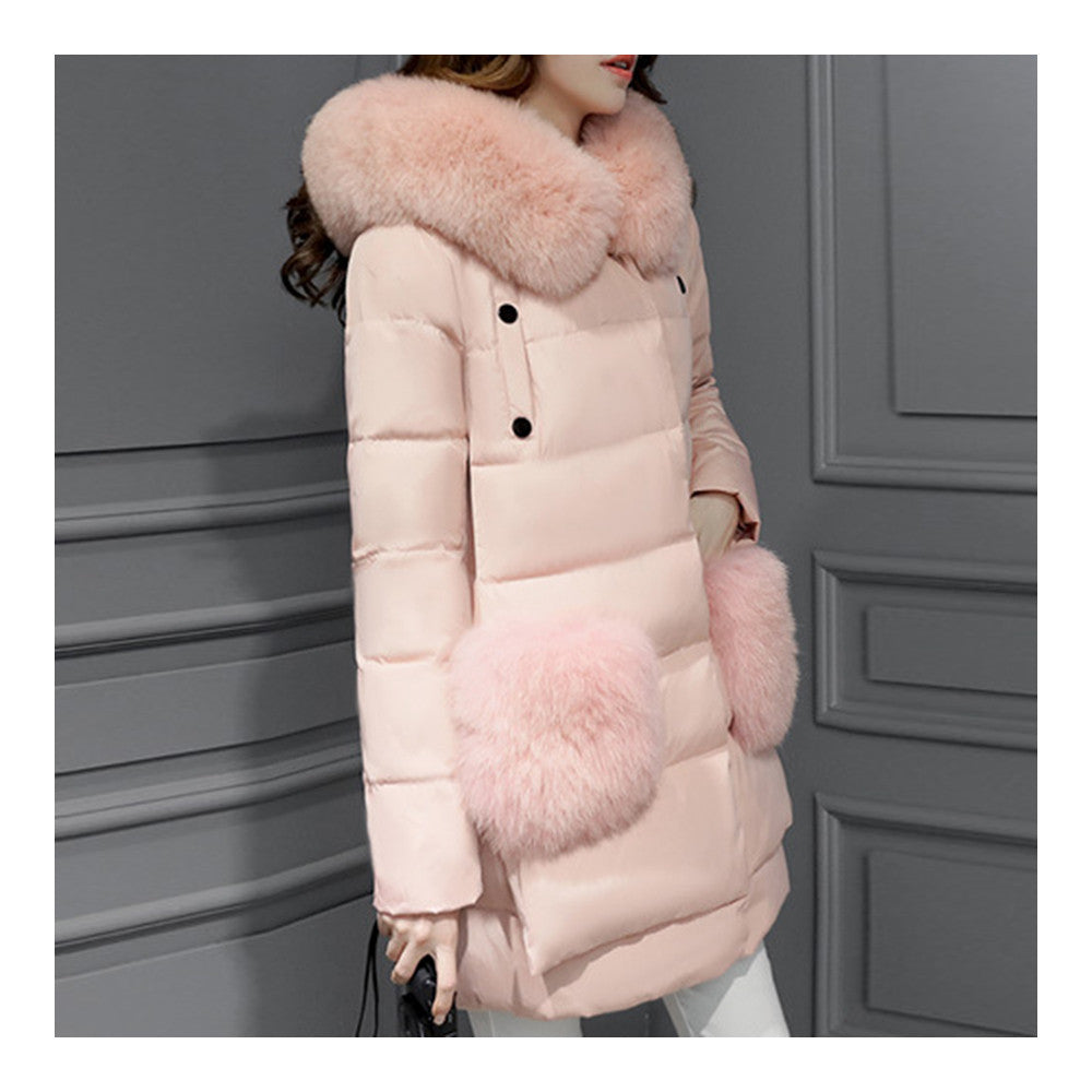 Winter Woman Middle Long Fake Fox Fur A Shape Down Coat    pink   S - Mega Save Wholesale & Retail - 3