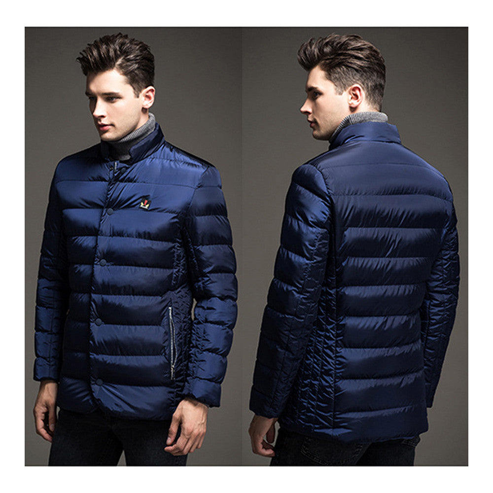 Man Solid Color Stand Collar Warm Cotton Coat    blue  M - Mega Save Wholesale & Retail - 3