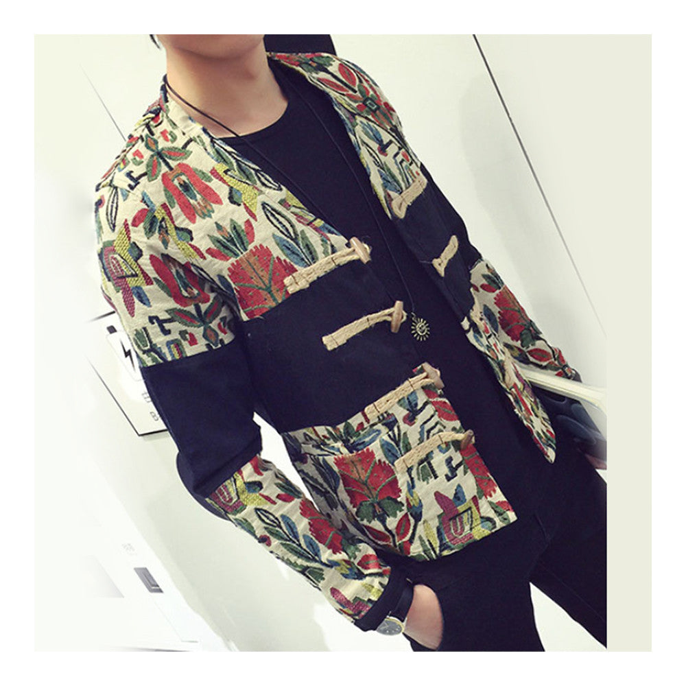 Splicing Floral Jacket Plate Button Man Coat   M - Mega Save Wholesale & Retail - 1