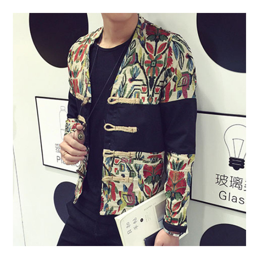 Splicing Floral Jacket Plate Button Man Coat   M - Mega Save Wholesale & Retail - 2