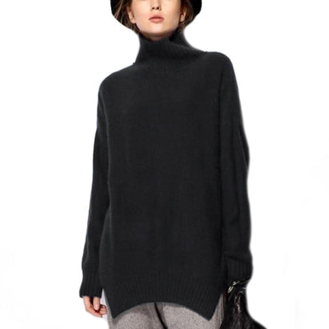 High Collar Wool Knitwear Sweater Loose   black   S - Mega Save Wholesale & Retail - 1