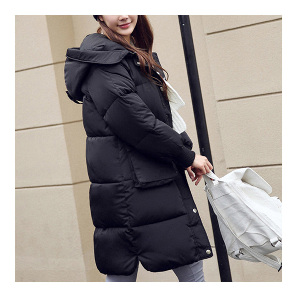 Winter Hoodied Loose Middle Long Down Coat    black    S - Mega Save Wholesale & Retail - 2