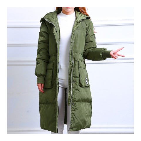 Winter Hoodied Loose Middle Long Down Coat    army green   S - Mega Save Wholesale & Retail - 1