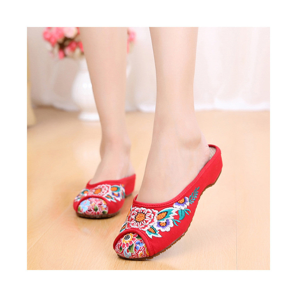 Old Beijing Cloth Shoes for Women in Red Vintage Embroidered Online in National Style with Beautiful Floral Designs - Mega Save Wholesale & Retail - 1