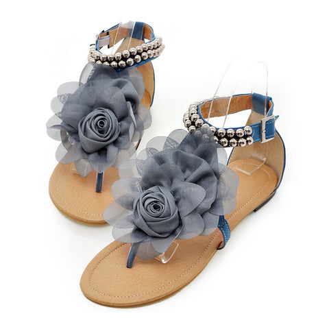 Flat Heel Flower Sandals Various Size Women Shoes  blue - Mega Save Wholesale & Retail - 1