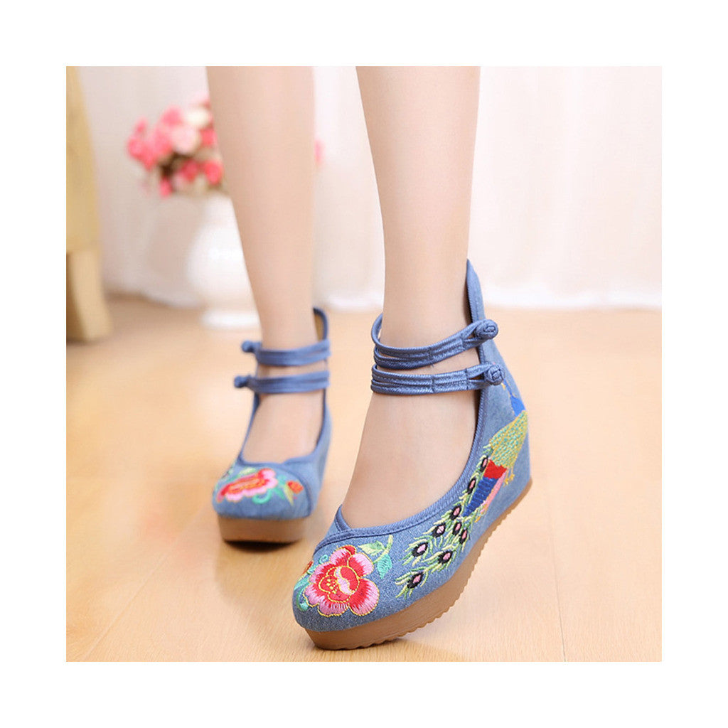 Old Beijing Cloth Shoes Embroidered Shoes High Heeled Shoes Woman National Style Slipsole Increased within  blue - Mega Save Wholesale & Retail - 1