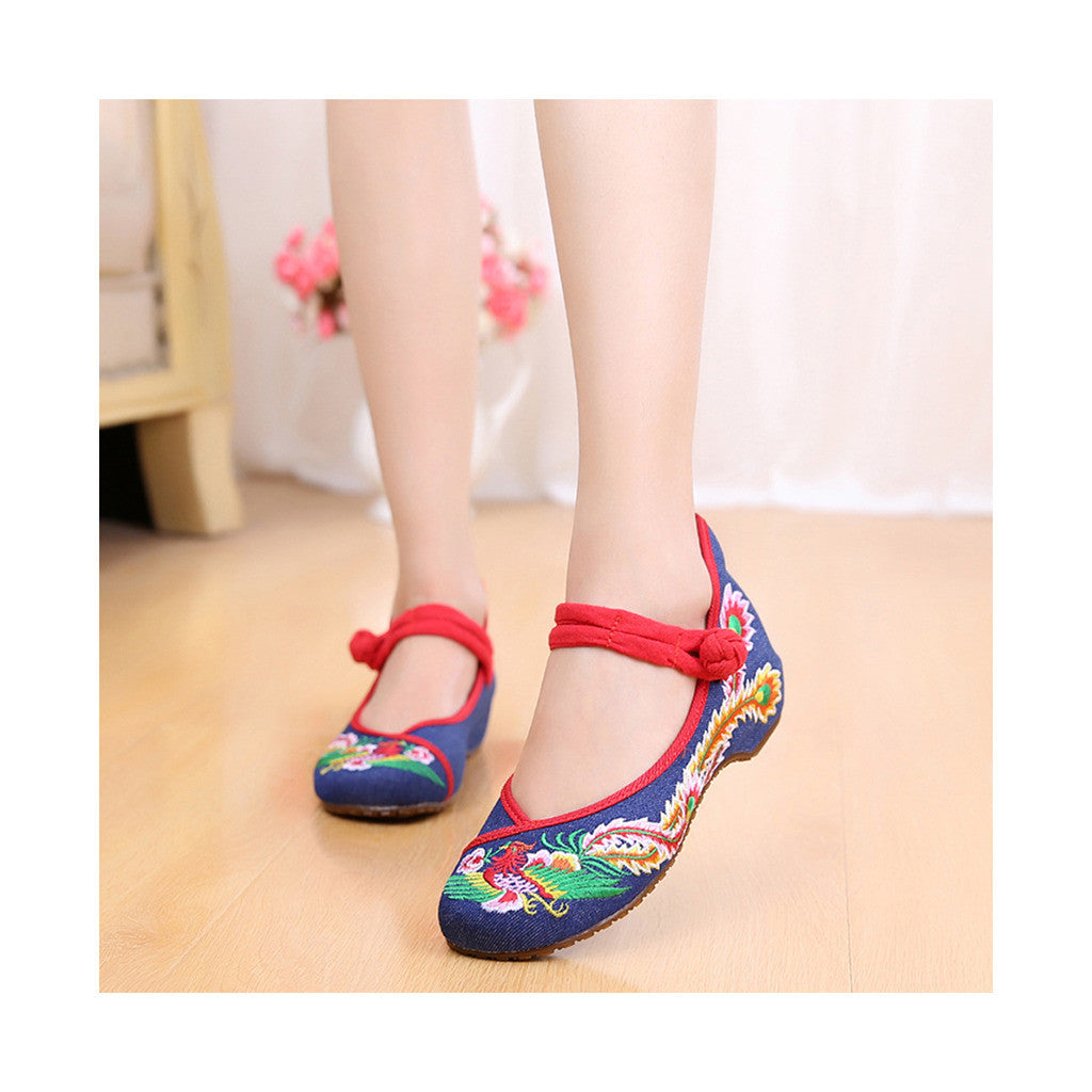 Colorful Phoenix Old Beijing Blue Woman Dance Shoes in Square National Style with Embroidery & Ankle Straps - Mega Save Wholesale & Retail - 1