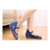 Old Beijing Cloth Shoes Casual Embroidered Shoes Slipsole Increased within Low Cut National Style Shoes  blue - Mega Save Wholesale & Retail - 1