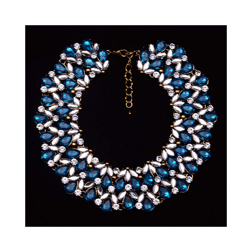 Big Brand Ornament Luxurious Zircon Gemstone Short Necklace Fake Collar Woman Clavicle Necklace   blue - Mega Save Wholesale & Retail - 1