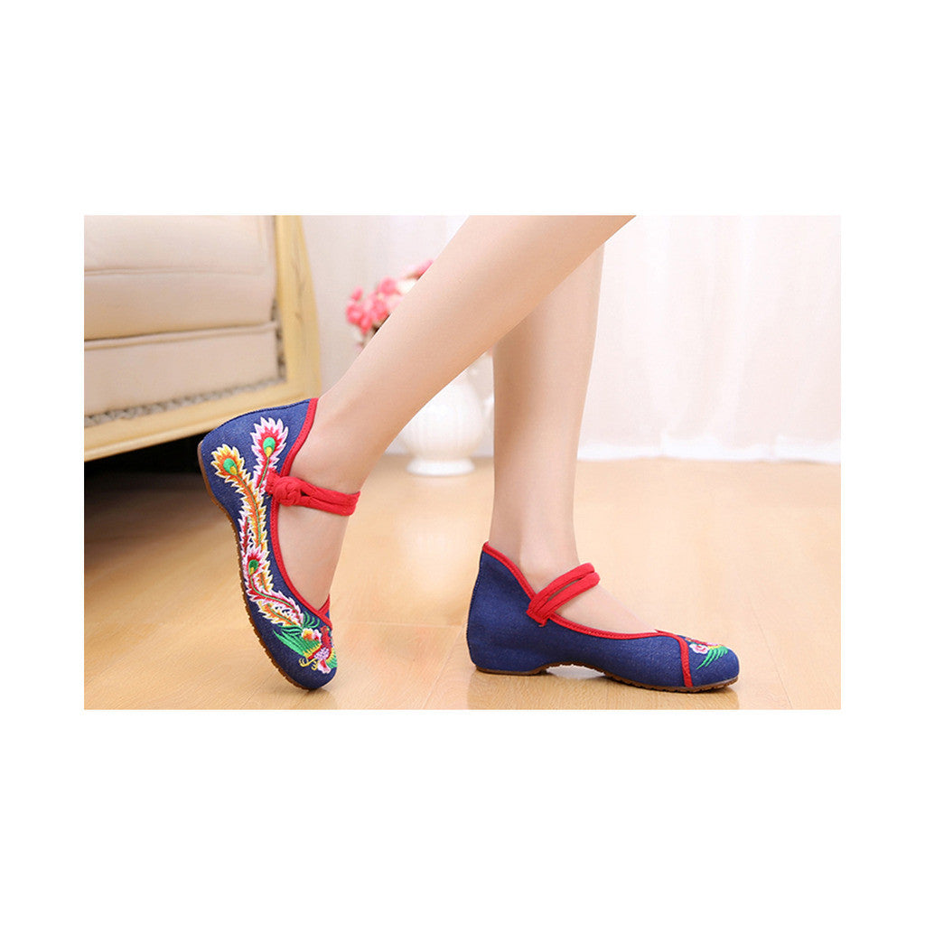 Colorful Phoenix Old Beijing Blue Woman Dance Shoes in Square National Style with Embroidery & Ankle Straps - Mega Save Wholesale & Retail - 2