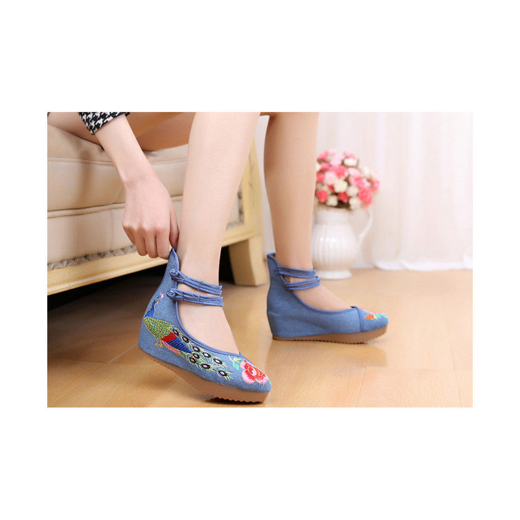 Old Beijing Cloth Shoes Embroidered Shoes High Heeled Shoes Woman National Style Slipsole Increased within  blue - Mega Save Wholesale & Retail - 2