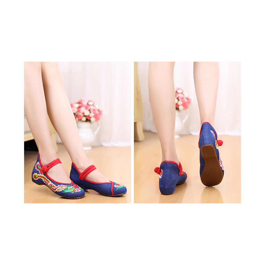 Colorful Phoenix Old Beijing Blue Woman Dance Shoes in Square National Style with Embroidery & Ankle Straps - Mega Save Wholesale & Retail - 3