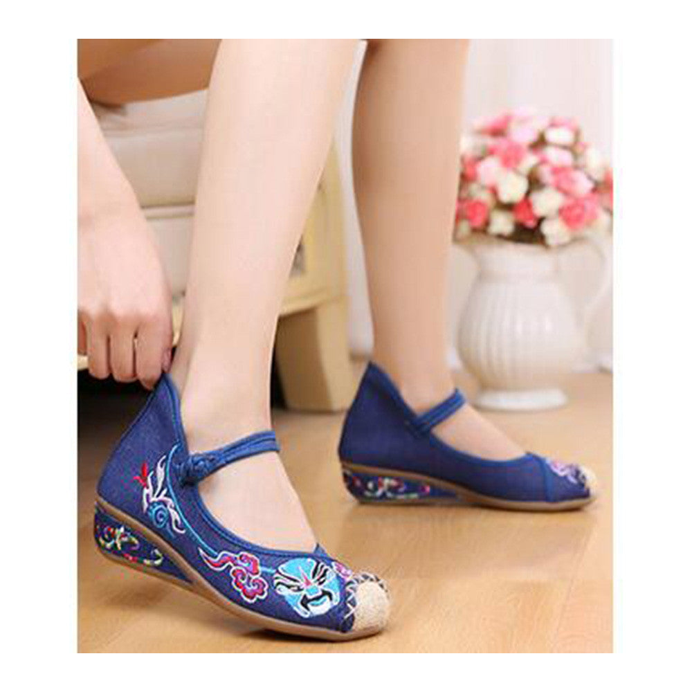Old Beijing Cloth Shoes Casual Embroidered Shoes Slipsole Increased within Low Cut National Style Shoes  blue - Mega Save Wholesale & Retail - 3