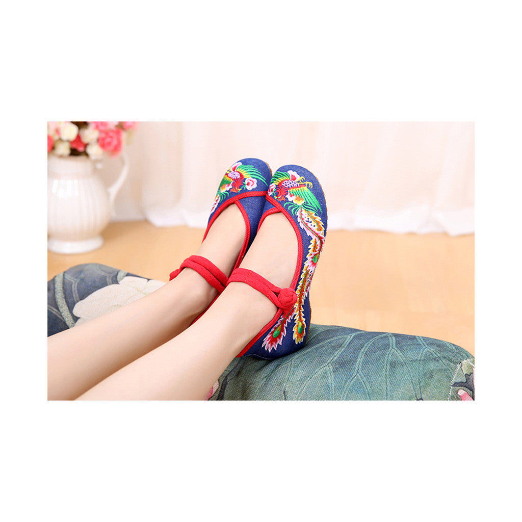 Colorful Phoenix Old Beijing Blue Woman Dance Shoes in Square National Style with Embroidery & Ankle Straps - Mega Save Wholesale & Retail - 4