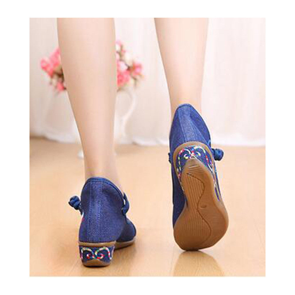 Old Beijing Cloth Shoes Casual Embroidered Shoes Slipsole Increased within Low Cut National Style Shoes  blue - Mega Save Wholesale & Retail - 4