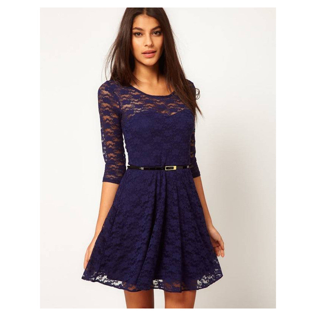 Women Sexy Short Summer Party Prom Cocktail New Formal Lace Homecoming Dress Blue - Mega Save Wholesale & Retail - 2