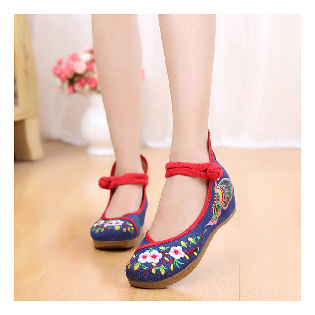 Old Beijing Embroidered Shoes for Women in Blue Sunflower National Style with Floral Designs & Double Straps - Mega Save Wholesale & Retail - 1