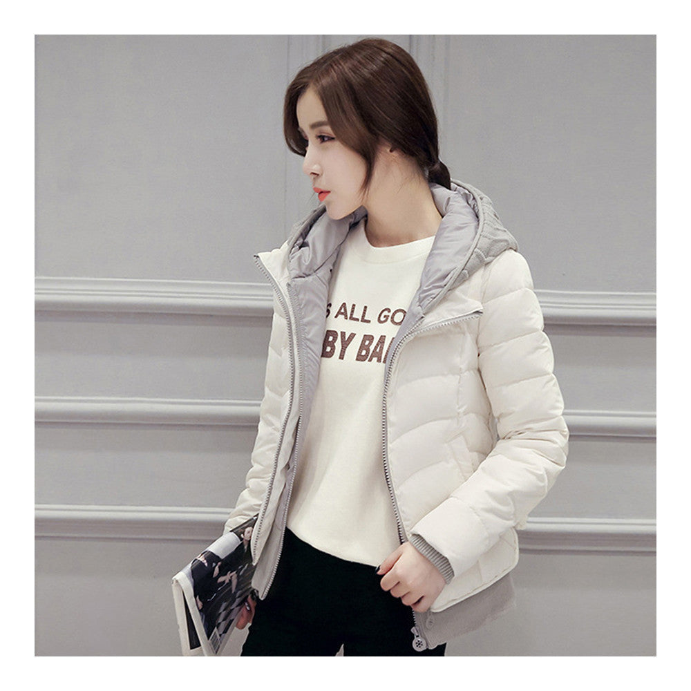 Hooded Down Coat Woman Slim Warm Screw Thread Chic   white   S - Mega Save Wholesale & Retail - 1