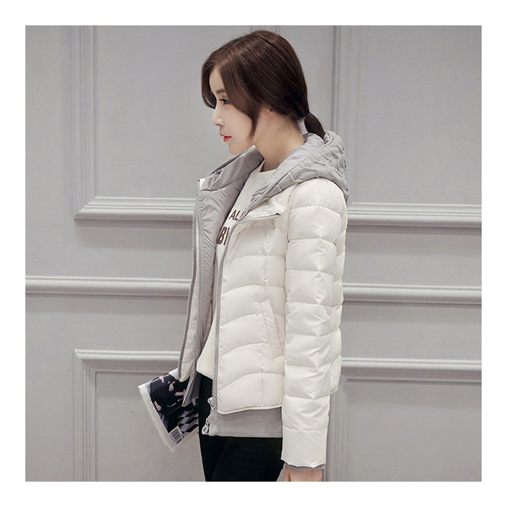Hooded Down Coat Woman Slim Warm Screw Thread Chic   white   S - Mega Save Wholesale & Retail - 2