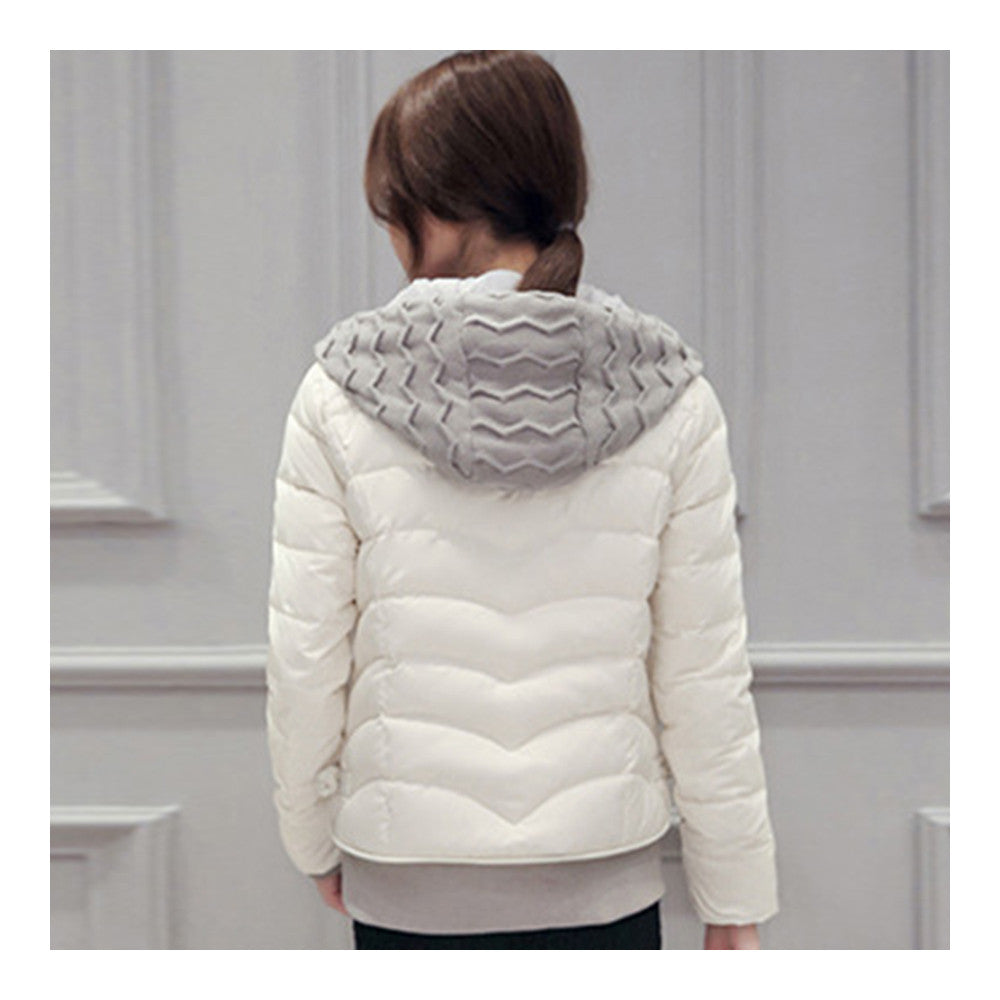 Hooded Down Coat Woman Slim Warm Screw Thread Chic   white   S - Mega Save Wholesale & Retail - 3