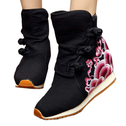 Wave Vintage Beijing Cloth Shoes Embroidered Boots black - Mega Save Wholesale & Retail - 1