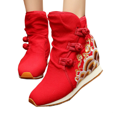 Wave Vintage Beijing Cloth Shoes Embroidered Boots red - Mega Save Wholesale & Retail - 1