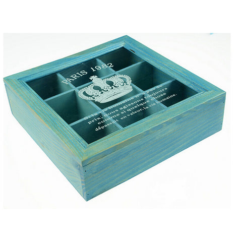 Zakka Retro Vintage 9 Cabinets Jewelry Storage Wooden Box Clear Cover   Blue Crown - Mega Save Wholesale & Retail - 1