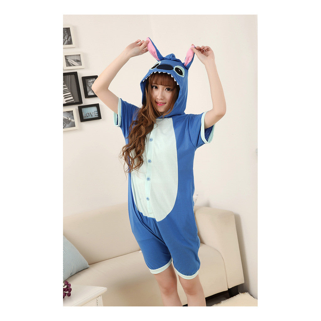 Unisex Adult Pajamas  Cosplay Costume Animal Onesie Sleepwear Suit Summer   blue  stitch - Mega Save Wholesale & Retail