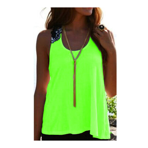 Lace Splicing Sleeveless Back Hollow Vest   fluorescent green   S - Mega Save Wholesale & Retail