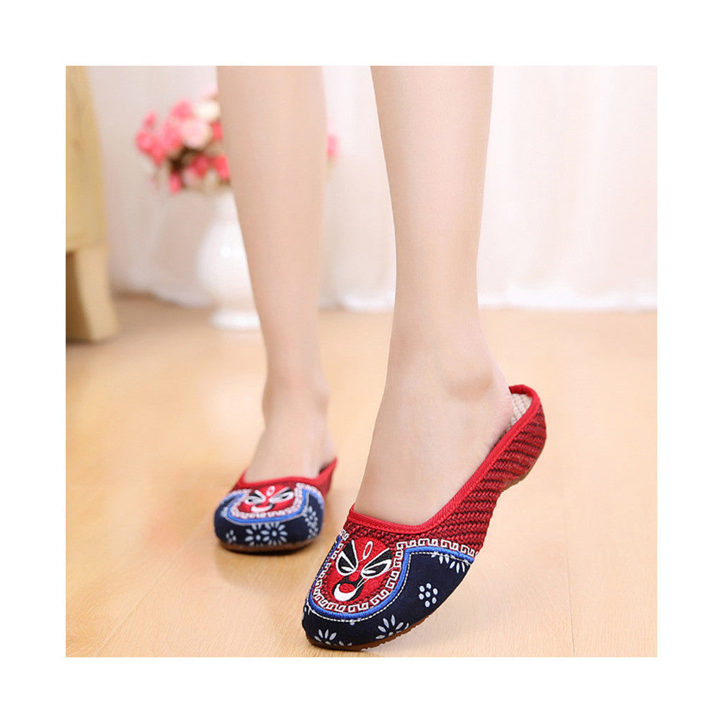 Old Beijing Cloth Shoes in Red Vintage Embroidery for Woman Online in National Style with Cowhell Sole - Mega Save Wholesale & Retail - 1