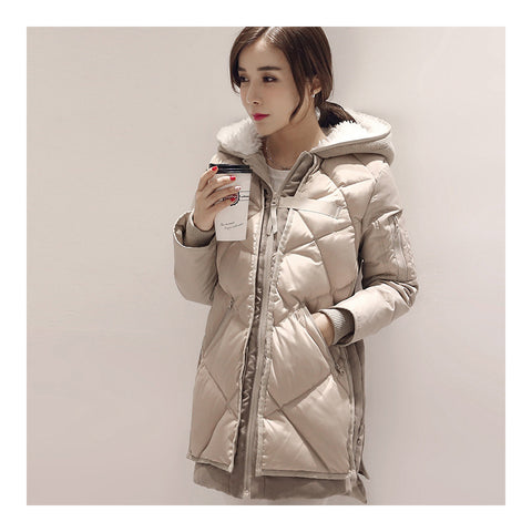 Down Coat Woman Middle Long Hoodied Slim Winter     beige    S - Mega Save Wholesale & Retail - 1