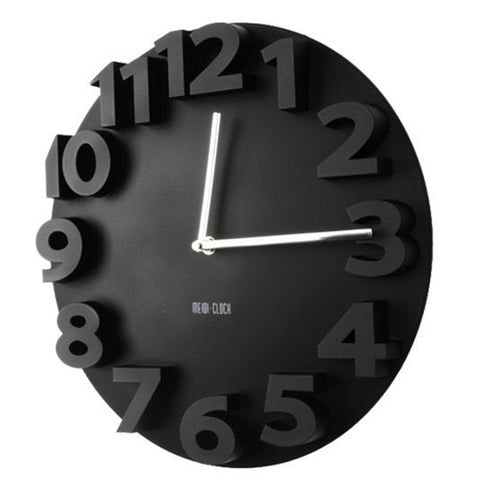 Creative Round Simple 3D Digital Wall Clock   black - Mega Save Wholesale & Retail - 1